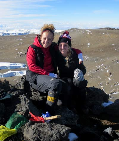Sudbury native Joanna Fabris reaches the top of Mount Kilimanjaro with a friend, climbing in support of Rogers House in Ottawa