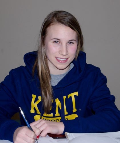 Lasalle Secondary senior Jenna Hellstrom signs on the dotted line, committing to a Division I soccer scholarship from Kent State University in Ohio