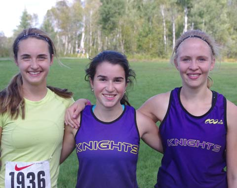 A very promising group of young female runners at Lo-Ellen is led by Sydney Tarini, Kyla Bruni and Allison Caswell (left to right), first place finishers at the cross-country relay at Fielding Park