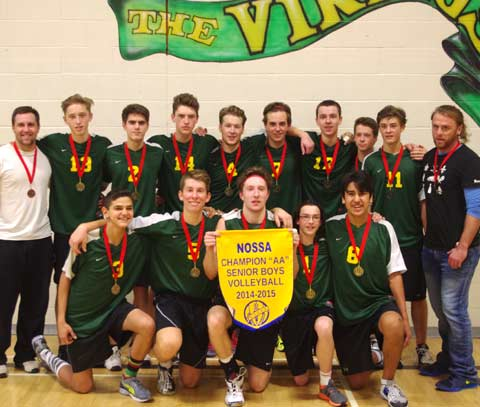 The Lockerby Vikings senior boys volleyball team rebounded from a loss in the city final, pulling through at NOSSA with a tough two set win over the Lo-Ellen Park Knights