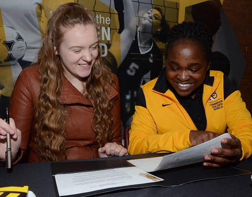 Merissa Moore (left) and Cambrian coach Nambogga Sewali can hardly wait to get to work, as the Golden Shield basketball program adds a pair of key recruits to the mix (photo courtesy of Arron Pickard)