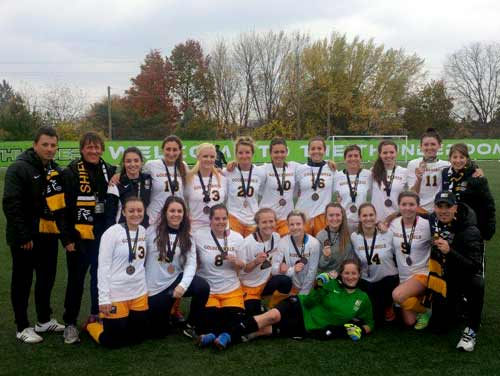 Bouncing back from a difficult semi-final loss to Algonquin, the Cambrian Golden Shield ladies soccer team captured OCAA bronze medals with a 1-0 win Saturday over the Humber Hawks