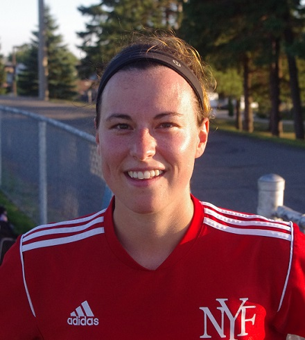 SC Italia - New York Fries striker Roxanne Seguin scored three times in a span of some ten minutes, as her team improved to 12-0-0 with a 3-0 win over second place Integrated Benefit Services