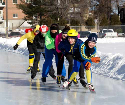 Taking full advantage of a recent cold, crisp and sunny winter day, the Sudbury Sprinters Speed Skating Club enjoyed another outdoor workout at the Queens Atheltic Field oval (<i>picture supplied by Marc Bouffard</i>)