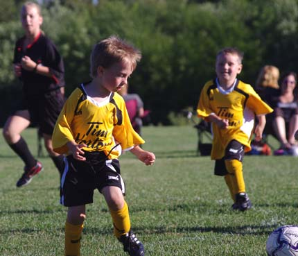 The youngest of the Sudburnia Soccer crew in action as the Tim Horton
