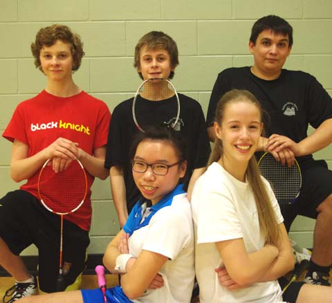 Five members of the Sudbury Jr Badminton Club begin play at the 2014 OFSAA Championships in Markham this week