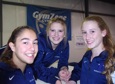 Kayla Folz, Jenny Drane and Kiiana Valentim (left to right) will represent the Sudbury Laurels GymZone at the Team Ontario Tour Selection meet this November